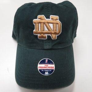 Notre Dame Hat Cap Sewn Logo Green Medium